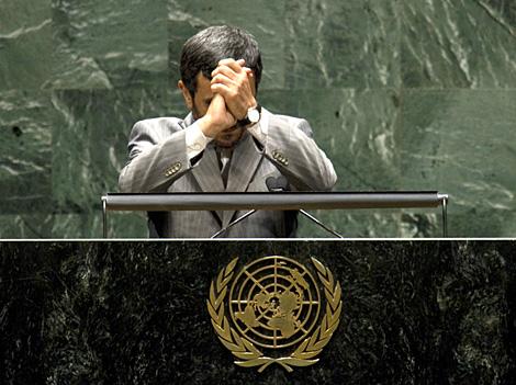 Ahmadineyad, tras finalizar su discurso ante la ONU. | AFP
