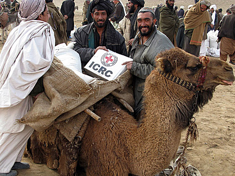 Vecinos de la Badghis reciben ayuda del Comité Internacional de la Cruz Roja. | Yousof Mayar / ICRC.