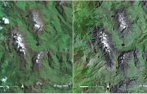 Estado del glaciar en los montes Ruwenzori en 1987 (i) y en 2005(d).   UNEP