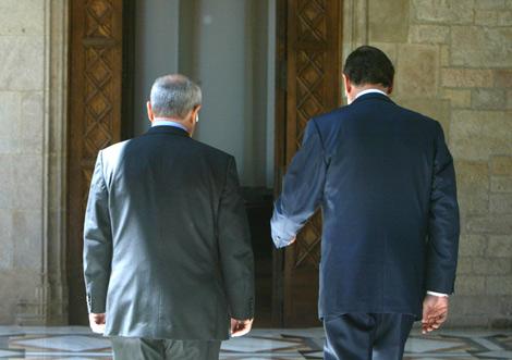 Rajoy y Montilla, minutos antes de la reunión. | Domènec Umbert