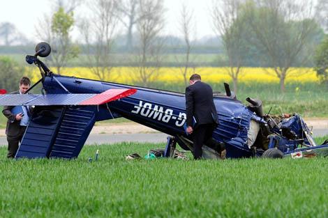 La avioneta de Farage, tras el accidente.   Ap