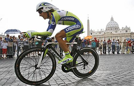 Franco Pellizotti, en Roma, en la última etapa del Giro de Italia 2009. (Foto: Alessandra Tarantino)