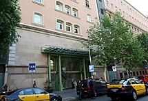 Entrada del hospital Clínico en Barcelona.