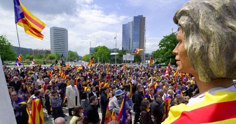 Un momento de la concentración, en Ginebra.   AFP