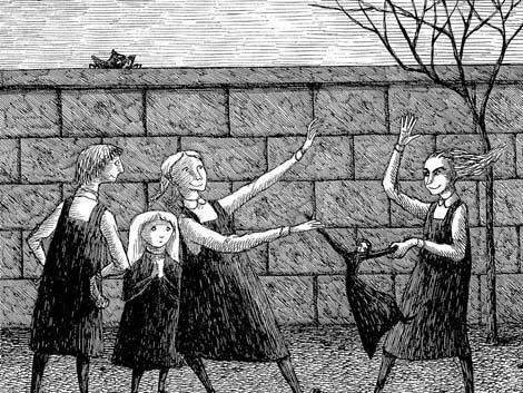 Ilustración en blanco y negro de 'La niña desdichada'.
