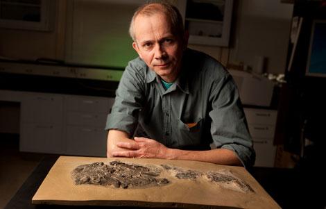 El investigador Michael I. Coates, junto a un fósil de un tiburón.| Janson Smith
