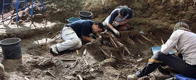 Labores de exhumación de siete cadáveres en Candeleda.   Ricardo Muñoz