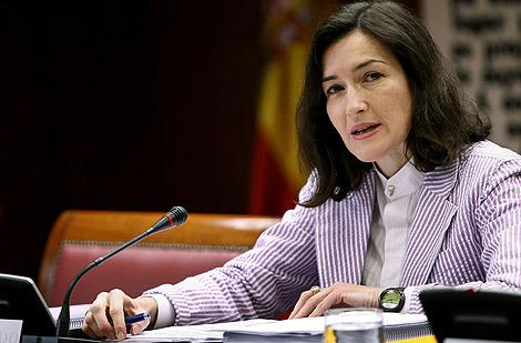 La ministra de Cultura durante su comparecencia en el Senado. | Efe