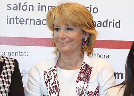 Aguirre, en un acto esta mañana en el SIMA. (madrid.org)