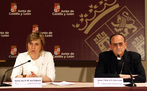 La consejera de Cultura y Turismo, María José Salgueiro, junto con el presidente de la Fundación de las Edades del Hombre, Carlos López, presenta la programación de la Fundación Edades del Hombre. | Ical