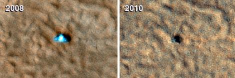 A la izquierda, la señal captada de Phoenix en 2008 y a la derecha, la sonda sin vida. | NASA