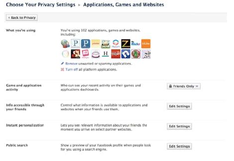 Aspecto de las gestión de privacidad en aplicaciones de terceros.