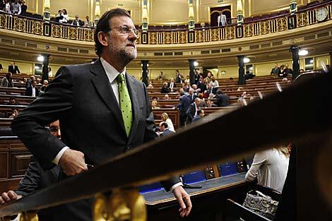 Rajoy sube a su escaño, el pasado jueves en el Congreso. | Bernardo Díaz