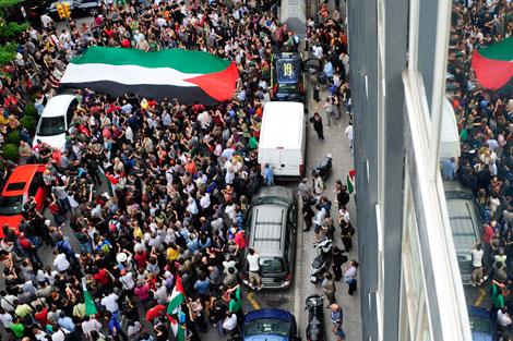 Protesta frente a la cámara comercial España-Israel | Ap