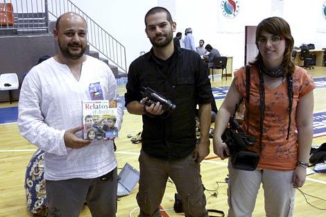 Los tres activistas españoles detenidos, Manuel Tapial, David Segarra y Laura Arau. | Efe