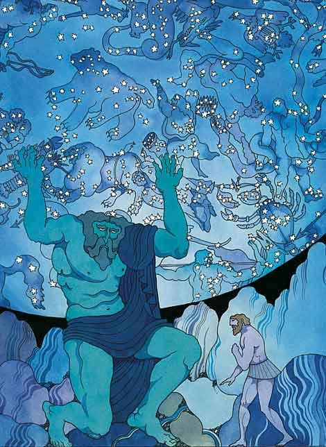 Hércules visita al gigante Atlas en su undécimo trabajo.