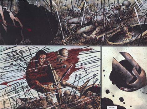 Imagen del cómic 300 de Frank Miller de donde basaron la película de Zack Snyder.