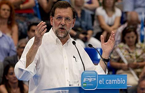 Mariano Rajoy, en un mitin este sábado en Almería. | Efe