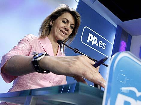María Dolores de Cospedal, durante la rueda de prensa. | Óscar Monzón