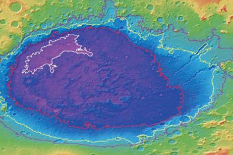 Recreación de los depósitos hallados en el cráter 'Hellas Planitia'. | NASA