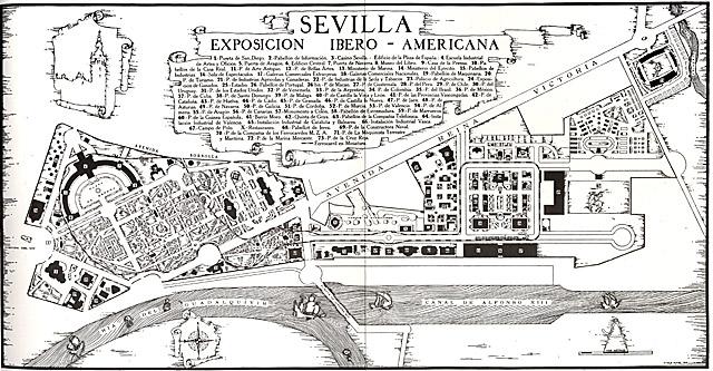 El plano de la Exposición Iberoamericana con los pabellones distribuidos por el sector sur de la ciudad.