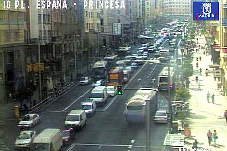 Cámara de tráfico del Ayuntamiento en Gran Vía.