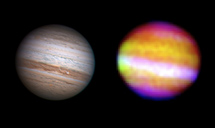 Júpiter en el infrarrojo visto por SOFIA (junto a una imagen óptica), | NASA, DLR, SOFIA