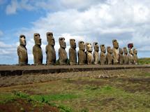 Moáis en Ahu Tongariki (i. de Pascua). | Ian Sewell