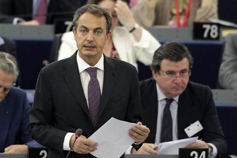 Zapatero, en su intervención ante la Eurocámara.   Reuters