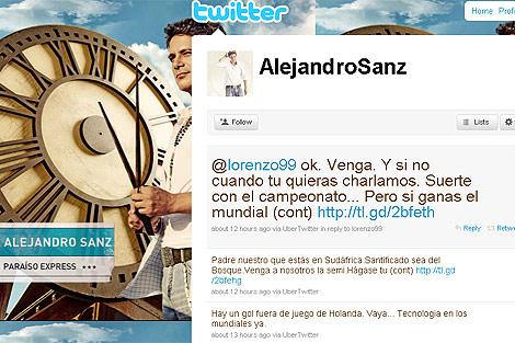Imagen de la página de Twitter de Sanz con la contestación a Lorenzo.