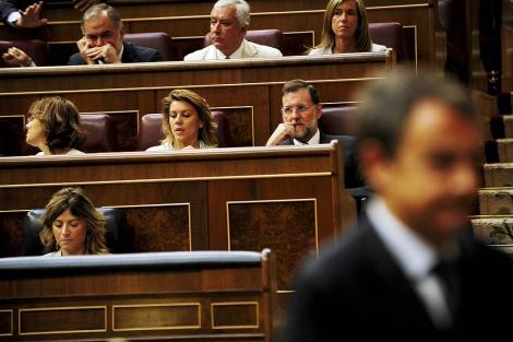 ´Rajoy, durante una de las réplicas de Zapatero. | Bernardo Díaz