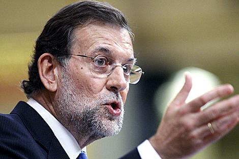 Mariano Rajoy ayer en su intervención en el Congreso. | Efe
