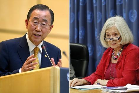 Ban Ki-moon y Inga-Britt Ahlenius, en dos imágenes de archivo. | AFP/AP