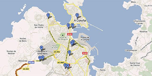 Así se reparten los centros comerciales por la ciudad. | Google Maps