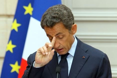 Sarkozy, durante la rueda de prensa.   Ap