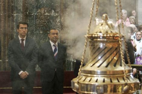 Feijóo y el presidente canario, Paulino Rivero, que ha visitado Santiago este miércoles. | Efe