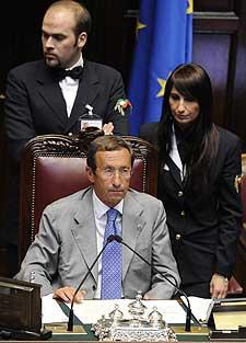 Gianfranco Fini, en la Cámara de los Diputados italiana. | Afp