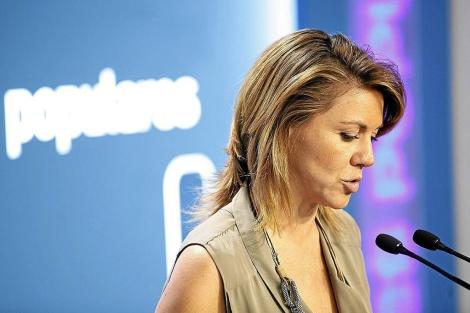 María Dolores de Cospedal, en una reciente rueda de prensa | E.M.