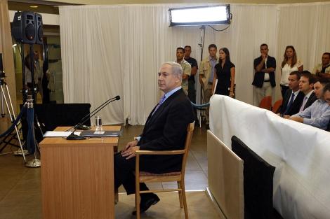 El Primer Ministro israelí, Benjamin Netanyahu, durante su declaración. | Reuters