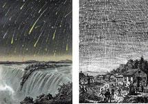 Representaciones de lluvias de estrellas del s. XIX.