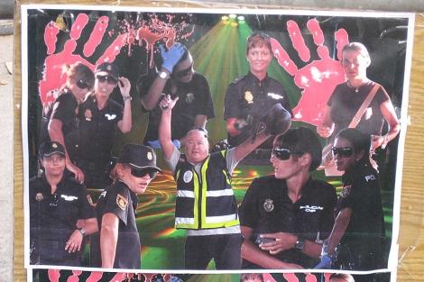 Imagen de uno de los carteles aparecidos en la frontera.