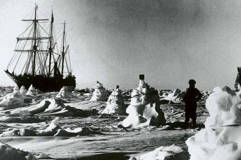 Fotografía de la expedición de Shackleton al Polo Sur.