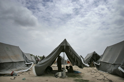 Un campamento de desplazados, en Sukkar.   AP