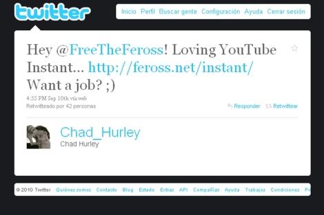 Oferta de trabajo de Chad Hurley por Twitter.