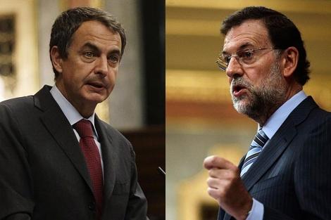Zapatero y Rajoy, durante sus comparecencias ante el Pleno del Congreso.   Reuters