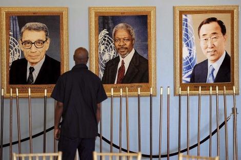 Retratos de los secretarios generales de la ONU, Brutos Ghali, Kofi Annan y Ban Ki-Moon. | Efe