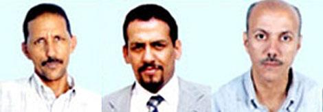 Izda. a dcha.: Brahim Dahane, Ali Salem Tamek Ahmed Naciri.