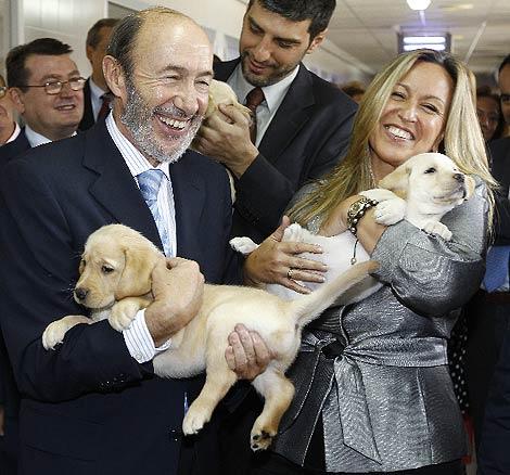 Rubalcaba y 'Trini', con perros guía, en la sede de la ONCE (Cuéllar)