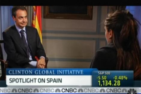 Zapatero, durante la entrevista en la CNBC.   Elmundo.es