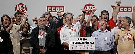 Los líderes sindicales, al final de la marcha de Madrid. | Efe